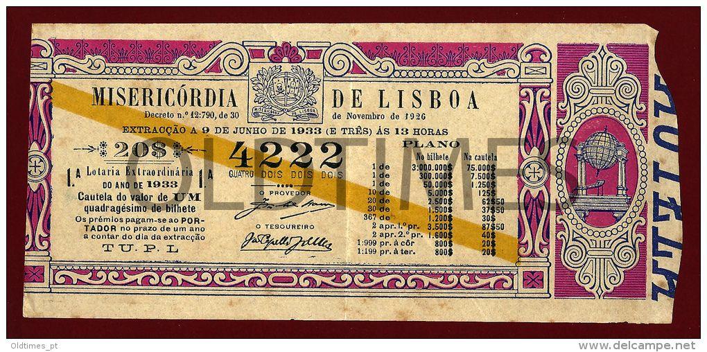 Portugal - Misericordia De Lisboa - Bilhete De Lotaria - 1933 Old Lottery Ticket