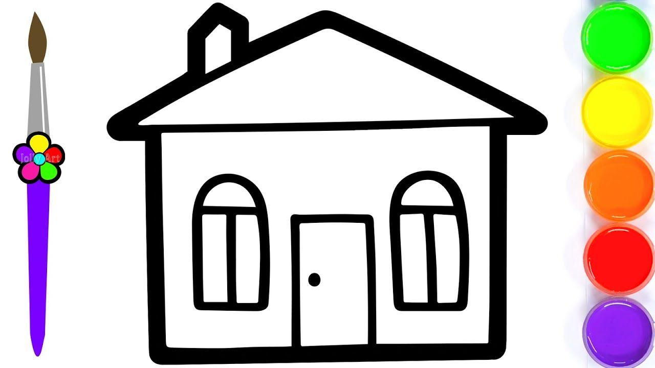 How To Draw A Simple House For Kids House Coloring Book For Kids Simple House Kids House Coloring Books