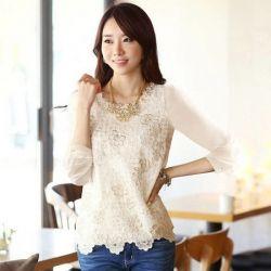 J74940 Korean Fashion Beads Lace Long Sleeve Chiffon Shirt