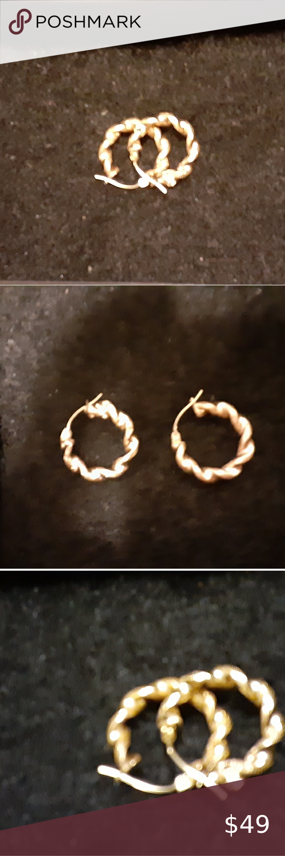 Elegant Textured 10 Karat Gold Hoop Earrings Beautiful Set Of 10 Karat Gold Jewelry Earrings In 2020 Gold Jewelry Earrings Hoop Earrings Earrings