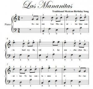 las mananitas piano | Las Mananitas Easy Note Piano Sheet Music PDF
