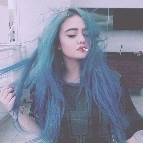 alternative style, blue, blue hair, cigarette, girl, grunge, hair, hairstyle, indie, inspiration, smoke, tumblr girl