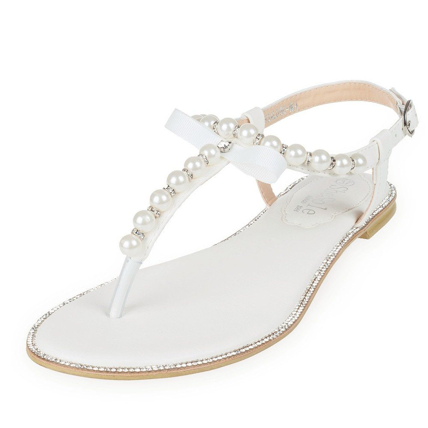 ed29b1d6f27ea6 SheSole Womens Gladiator Flat Sandals Pu Leather Wedding Pearls Rhinestone  Cute Comfortable Shoes    If you love this