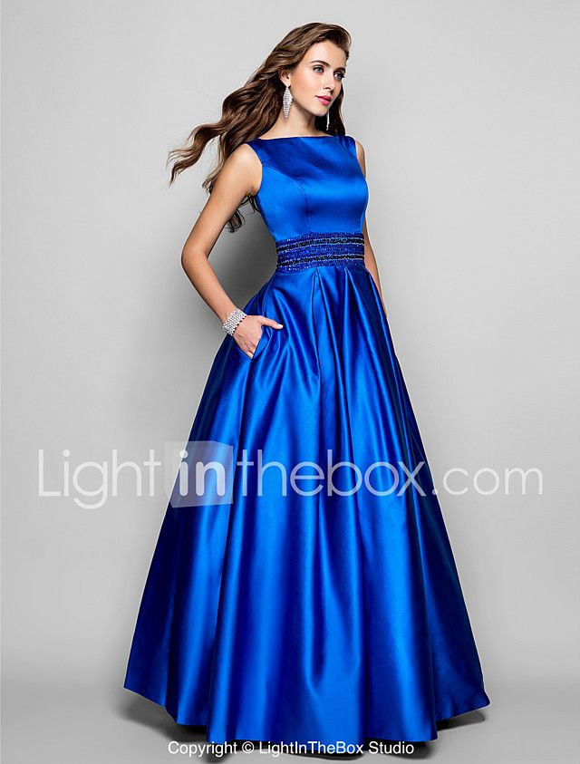 A-Line Ball Gown Bateau Neck Floor Length Satin Prom Formal Evening ...