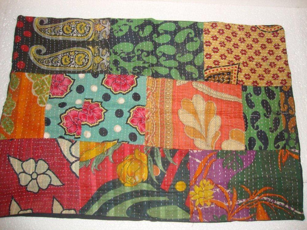 "Vintage Pillow Sham Kantha Style Patchwork Cotton Cushion Cover 28"" X 20"" QMC327 #Handmade"