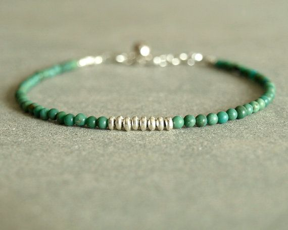 Turquoise Bracelet Sterling Round Small Beads Genuine Natural Stones