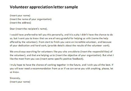 thank volunteers through volunteer appreciation letter sample you - appreciation letter sample