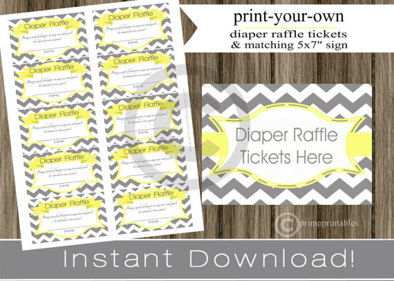 Baby Shower Diaper Raffle Tickets With Matching Sign Yellow And Gray  Chevron INSTANT DOWNLOAD Diy Digital