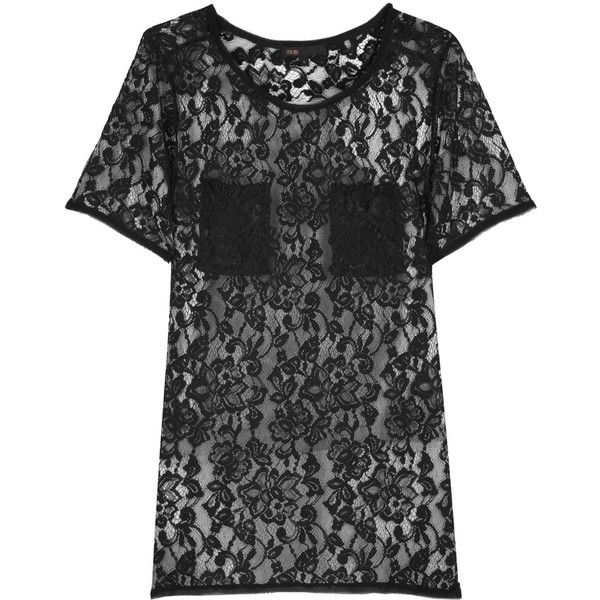 Metro lace T-shirt (960 ARS) ❤ liked on Polyvore featuring tops, t-shirts, shirts, dresses, tees, women, short-sleeve shirt, tee-shirt, lacy tops and short sleeve lace tee