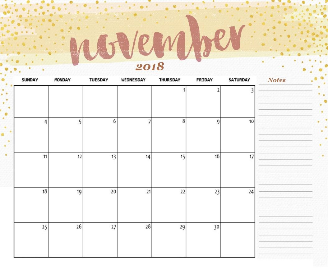 november calendar 2018 template