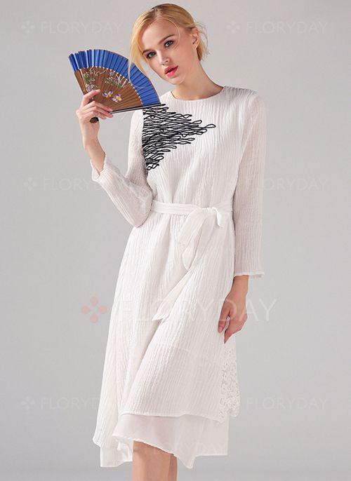 Kleider - $97.50 - Linen 3/4 Ärmel Knielang Lässige Kleidung ...