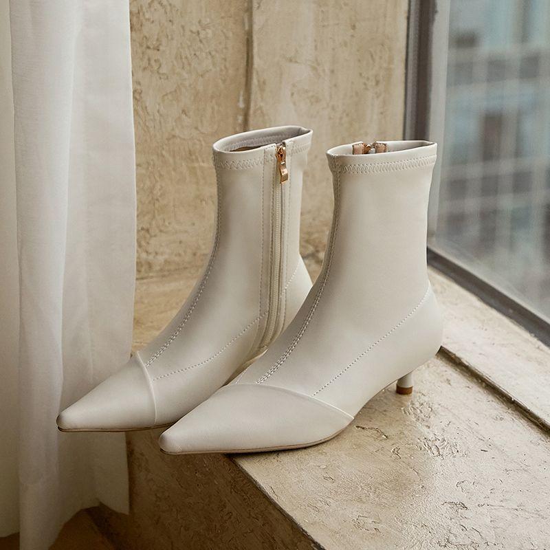 Chiko Miliani Pointed Toe Kitten Heels Boots feature pointed toe, approx. 4 cm kitten heels, rubber sole.