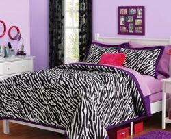 Purple zebra print bedding