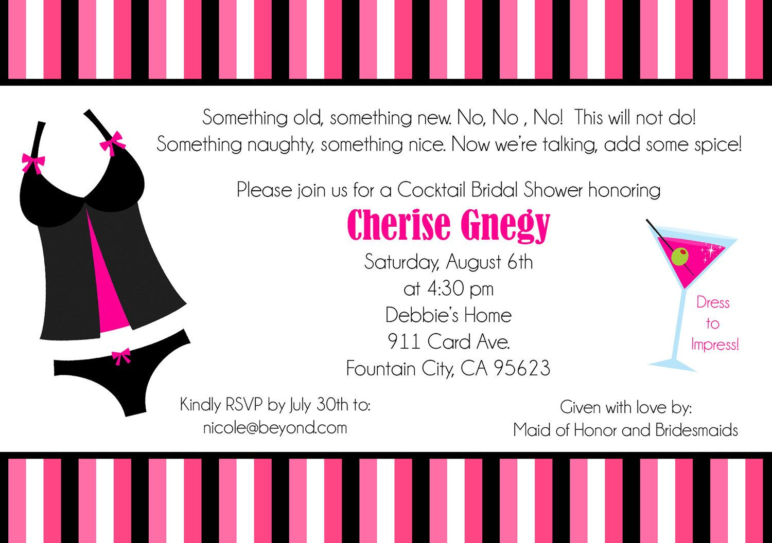 naughty and nice bridal shower invitation 5x7 digital file pink wedding pinkwedding paper