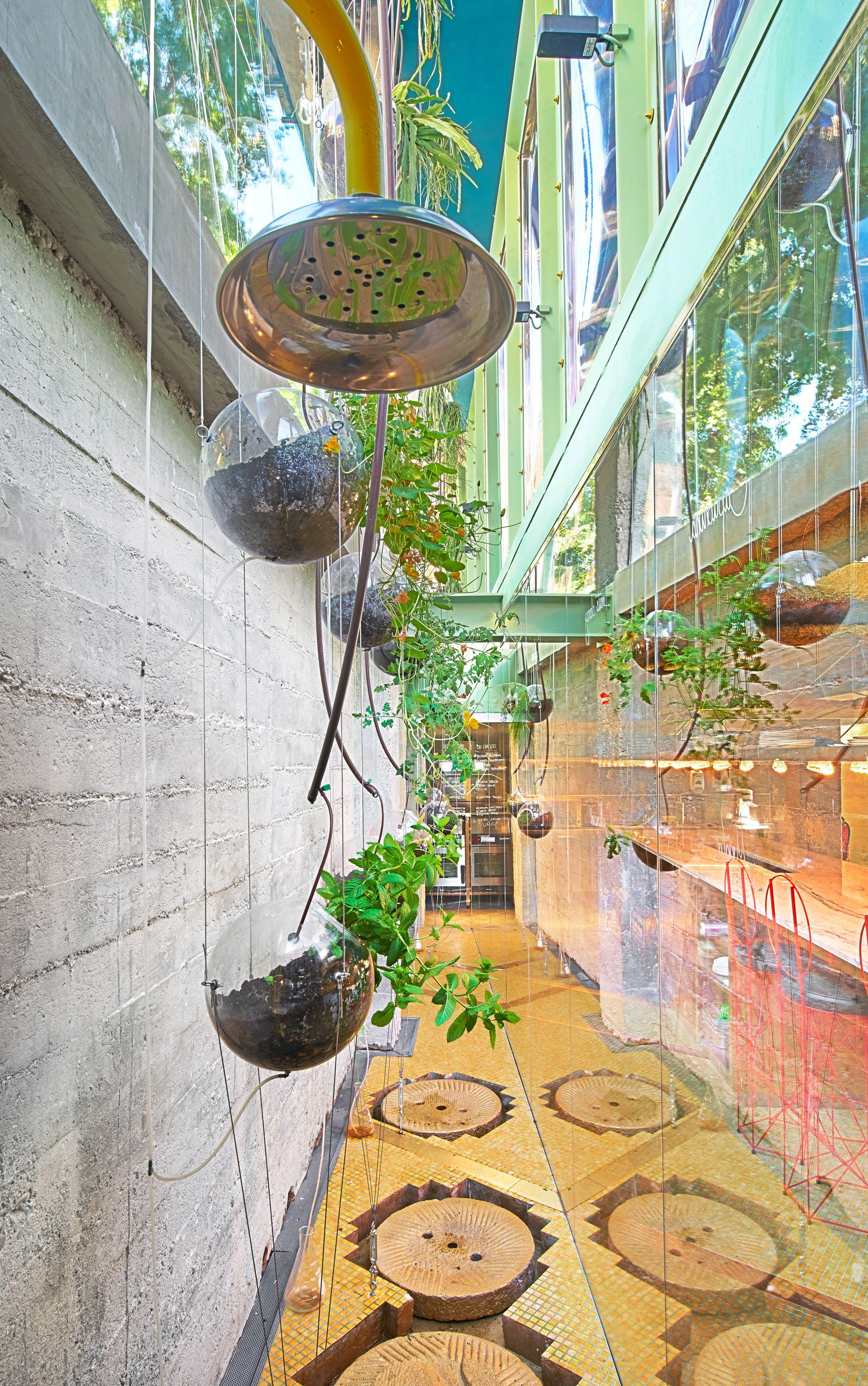 Run Run Run Cafe Has A Hanging Garden And See Through Showers Architectural Elements Comercial Interior Design Hanging Garden