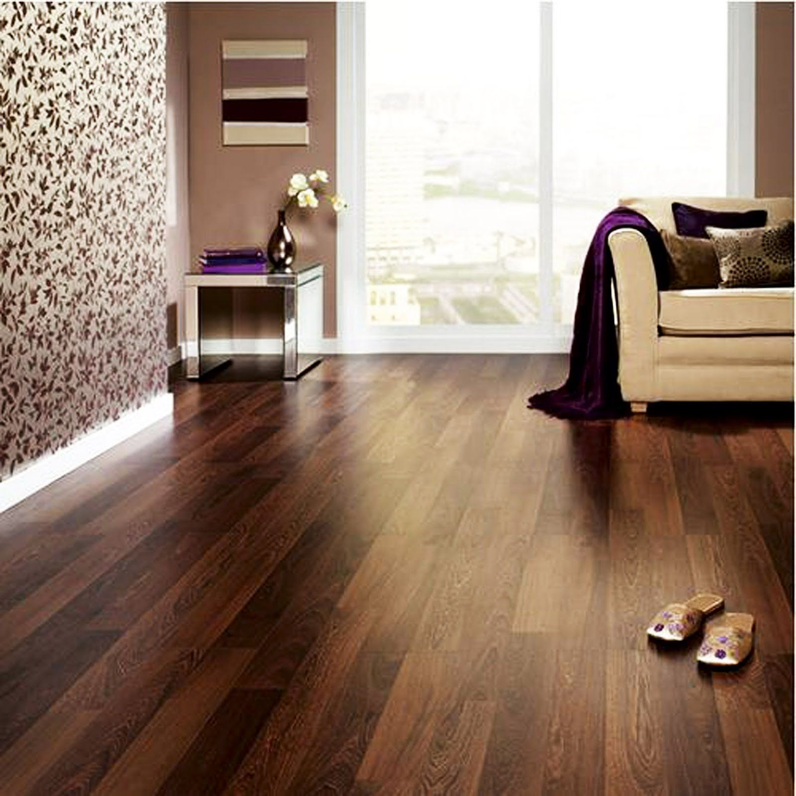 Endearing Laminate Wood Flooring Idea Installed In Modern Living Room With  Brown Mahogany Fake Wood Planks Finish