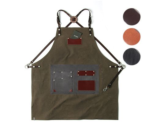 customizing canvas leather apron khaki #AA1807