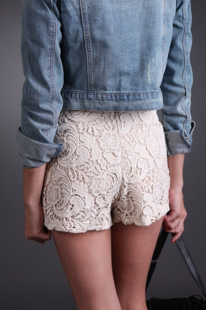 #Ivory #Lace #Shorts only $28.99 #sophieandtrey #musthave #laceshorts
