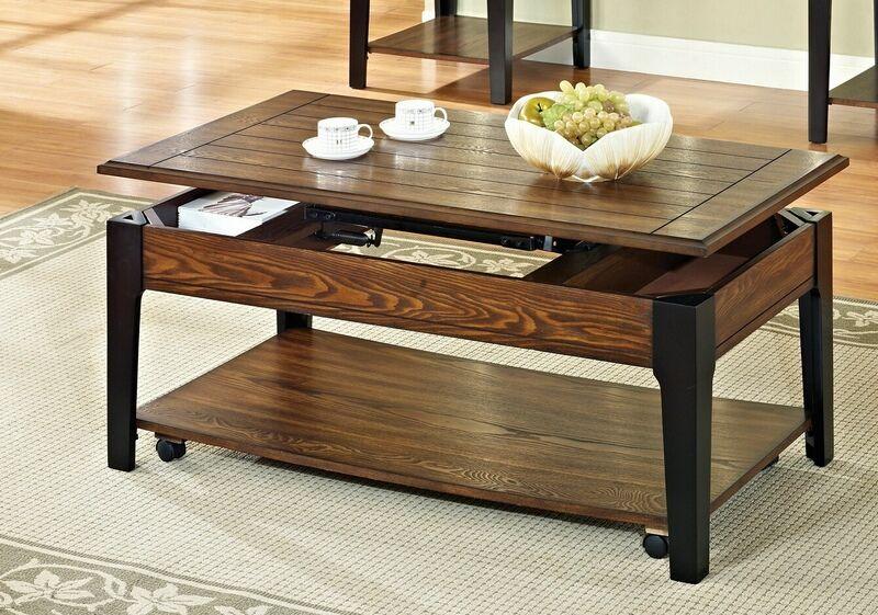 Acme 80260 magus brown oak black finish wood lift top
