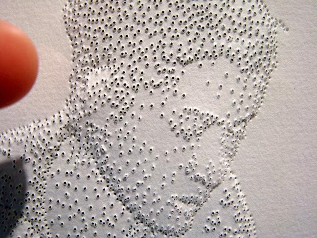 Alternate types of mark making lesson? pin hole portrait, Amparo - küchentische und stühle