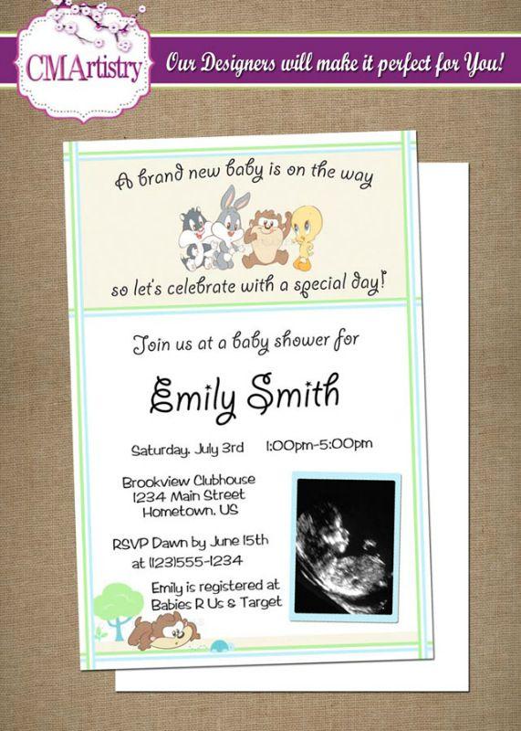 Baby Looney Tunes Shower Ultrasound Invitations
