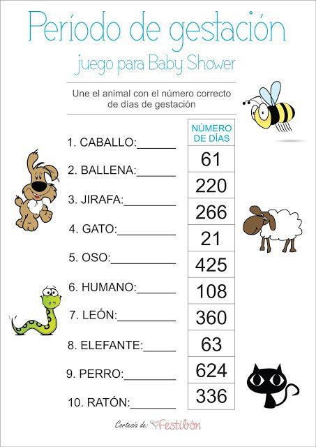 Periodo De Gestacion De Los Animales Juegos Para Baby Shower Para