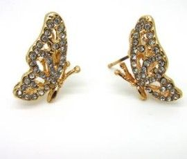 18k Gold Filled Butterfly Style With Swarovski Crystals Stud Earrings / SKU 224