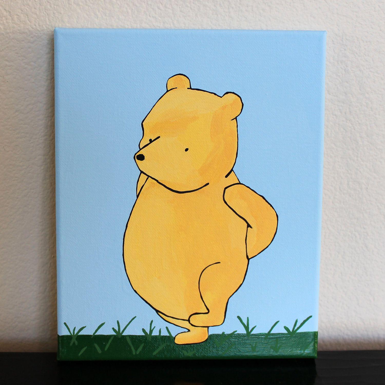 Original Acrylic Painting / Classic Winnie the Pooh / Nursery Art ...