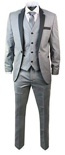 42a30206944807 Mens 3 Piece Light Grey Suit Charcoal Trim Slim Fit Wedding Party Prom -  Royal Hub