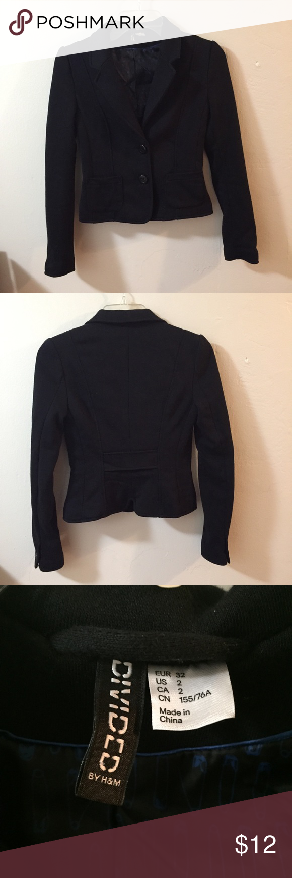 Short Blazer Short blazer by H&M is great for the professional looking for different blazer lengths! This is a short blazer and fitted so it is stylish and great with skirts! 65% cotton 35% polyester. 20' Top to bottom. Excellent condition H&M Jackets & Coats Blazers