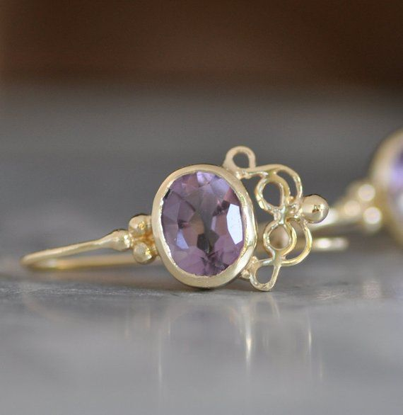 Details about  /1.2 Carat 14K Solid Gold Iris Amethyst Earrings