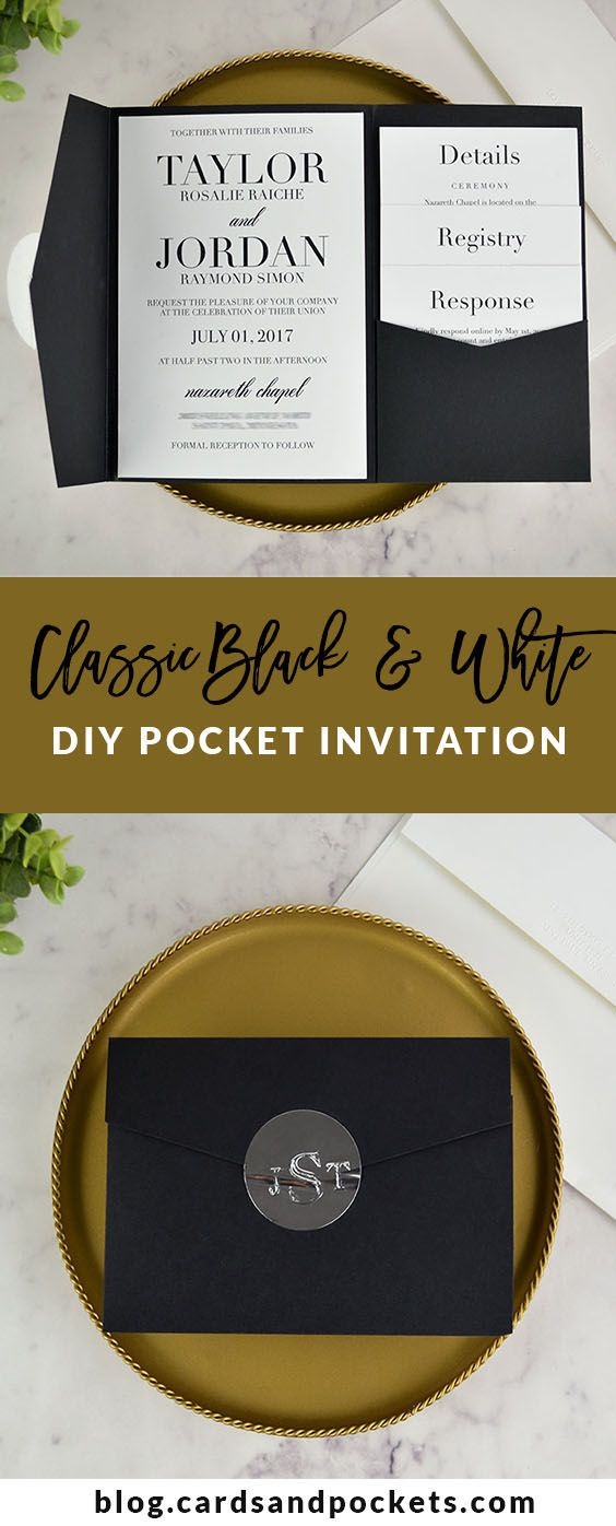 DIY your own classic black and white pocket wedding invitation. Learn how at http://blog.cardsandpockets.com/2017/02/16/real-diy-wedding-invitation-classic-black-white-pocket/