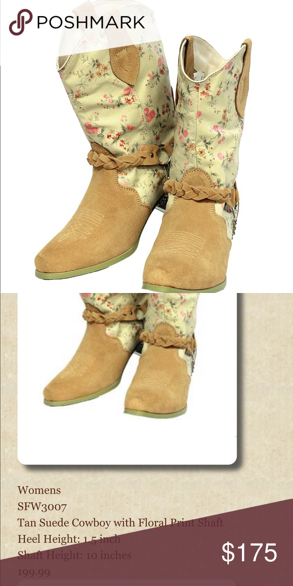 d7fbd3b1d68 Tan Suede Cowboy boot with Floral Print Shaft SFW3007 Tan Suede ...