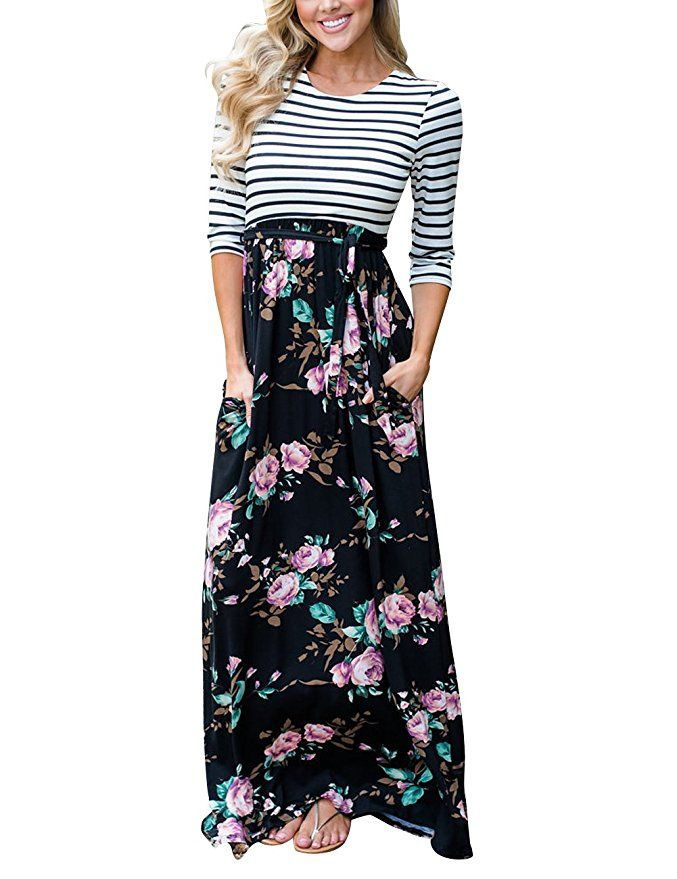 MEROKEETY Women's Striped Floral Print 3/4 Sleeve Tie Waist Maxi Dress  |Spring Outfits