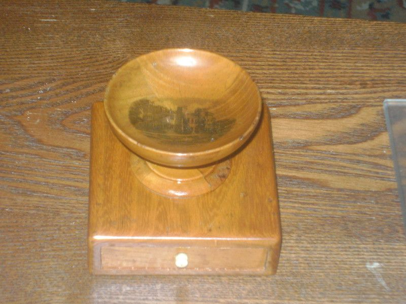 Victorian Mauchline Ware Bowl on Draw with Counters HAWARDEN CASTLE Listing in the Mauchline Ware,Woodenware,Antiques Category on eBid United Kingdom