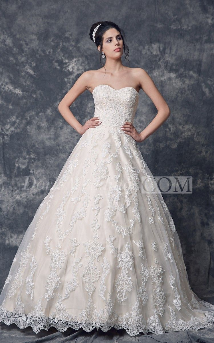 Demure Sweetheart Strapless Lace Wedding Dress With Backless. #lace #weddings #DorisWedding.com