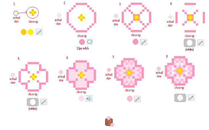 Simple Pixel Flower Tutorial By Buried Above Love On