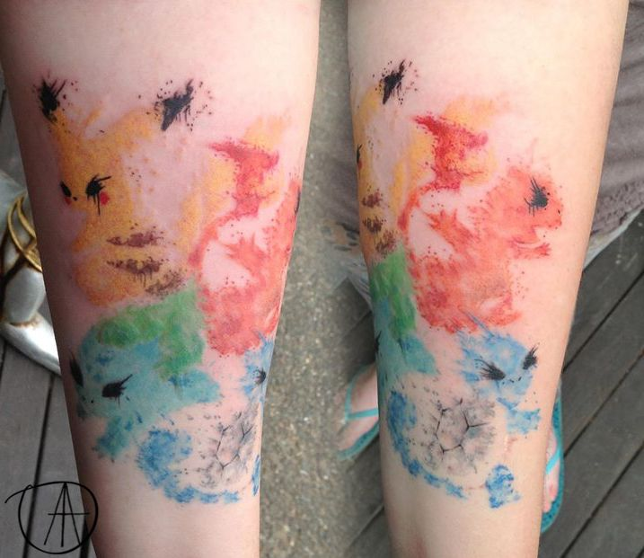 Pokemon Paint Splatter Tattoo By Tuesday Addams Splatter Tattoo