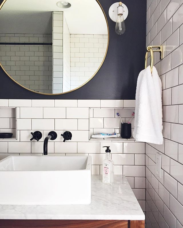 """bathroom. (Paint color is """"carbonized"""" by HGTV HOME by Sherwin Williams.)"""