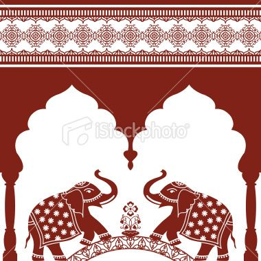 Arch Seamless Border And Elephants Can Easily Be Used Separately Indian Elephant Art Mughal Art Paintings Indian Elephant Drawing