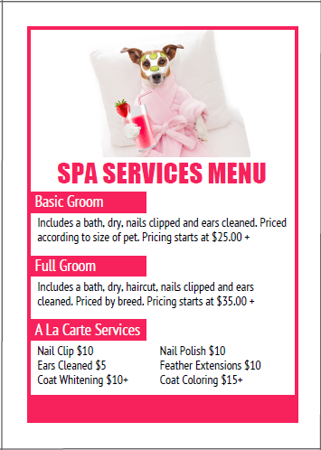 Pet Grooming Services Price List Templates Dog Grooming Dog