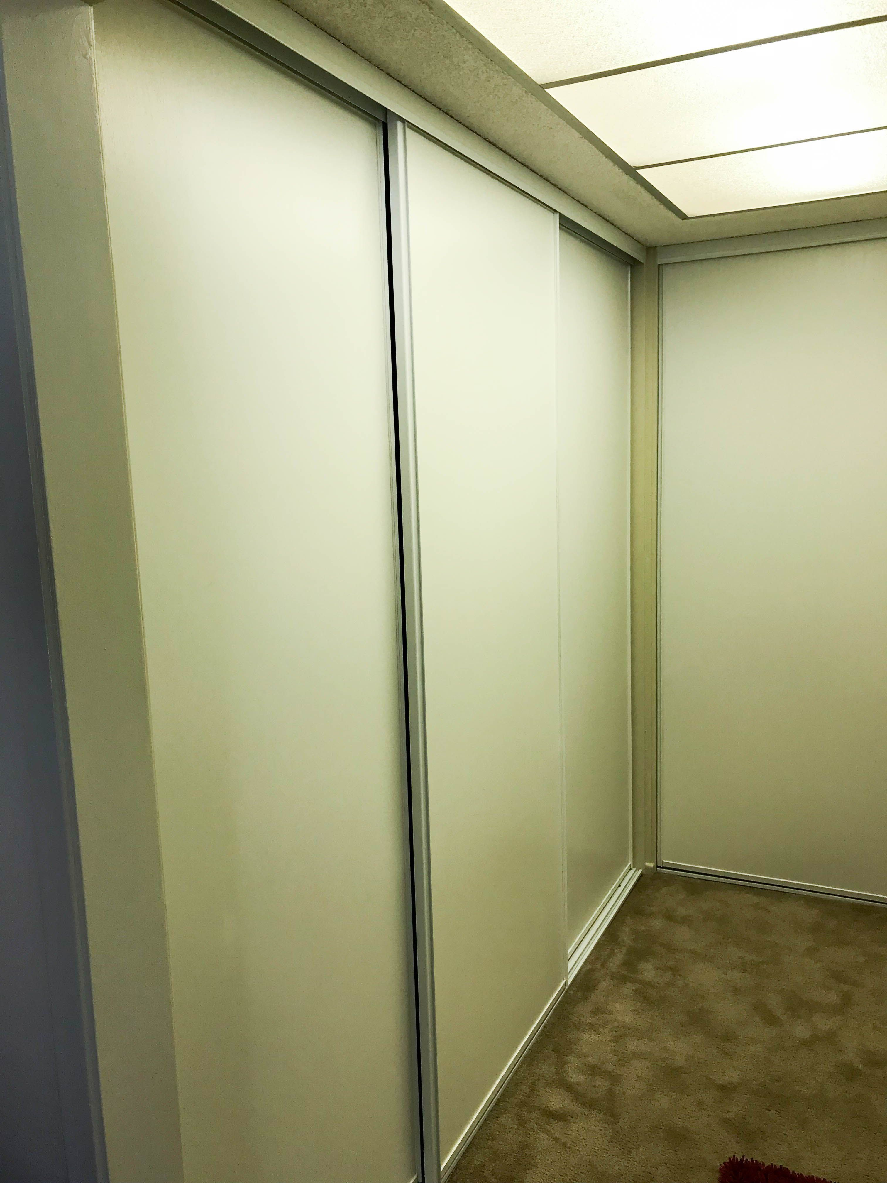 We Installed A 2 Track, 2 Panel Closet Door System As Well As A 3 Track, 3 Panel  Closet Door System With Vinyl Boards. If You Want To Replace Your Old ...