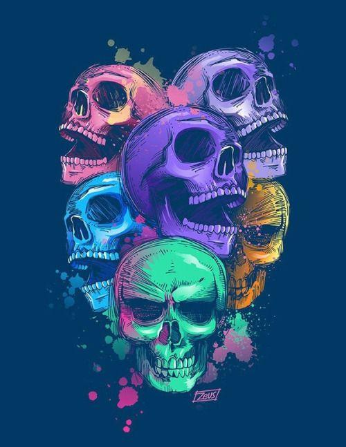 Thisnthat Skull Artwork Skull Art Skull Wallpaper Cool color skull wallpaper