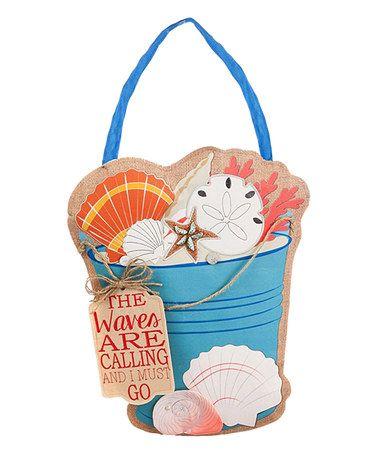 Love this Sea Shell Bucket Burlap Door Hanger on #zulily! #zulilyfinds