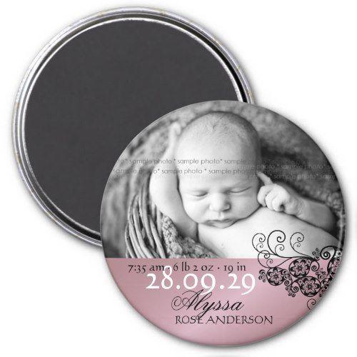 Floral Paisley Photo Birth Announcement Magnet | Zazzle.com