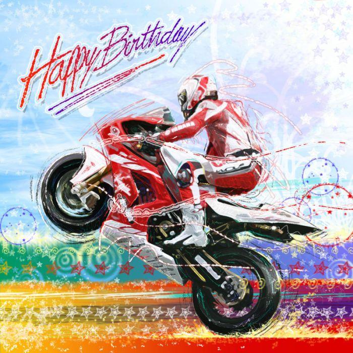 Scott Wilson Red Hot Biker Happy Birth Jpg Verjaardagskaart