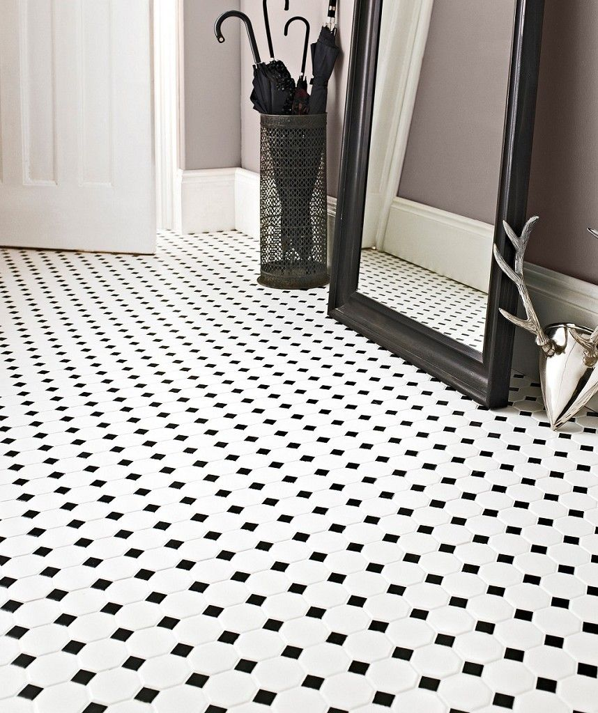 Shapes Octagon Matt White & Black Dot Mosaic Tile | Topps Tiles ...