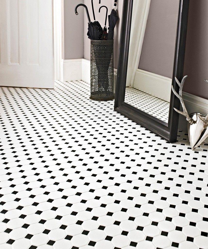 Shapes Octagon Matt White Black Dot Mosaic Topps Tiles Terrazzo Oppussing Fliser