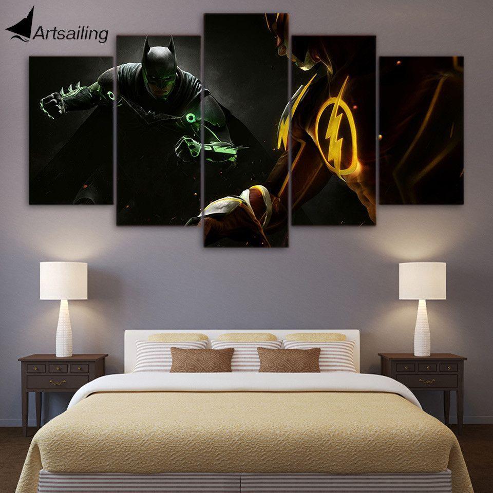 Batman Flash Hd Printed 5 Piece Canvas Living Room Decor