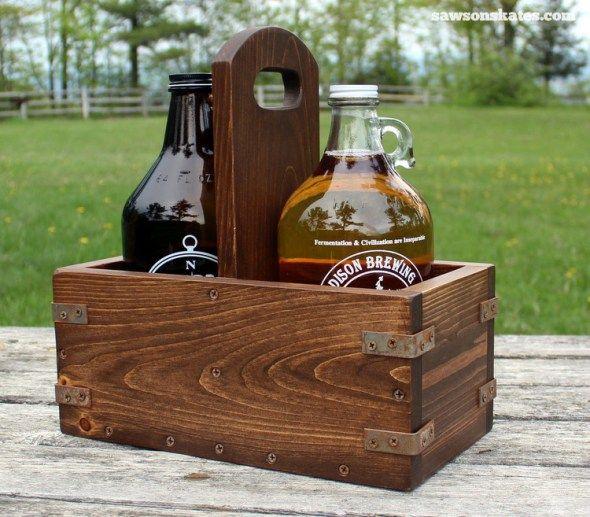 DIY Vintage Industrial Craft Beer Growler Carrier -   19 crafts beer growler ideas